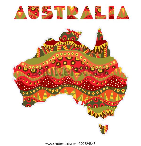 Australia Map Art.Patterned Australia Continent Art Title Map Stock Vector Royalty
