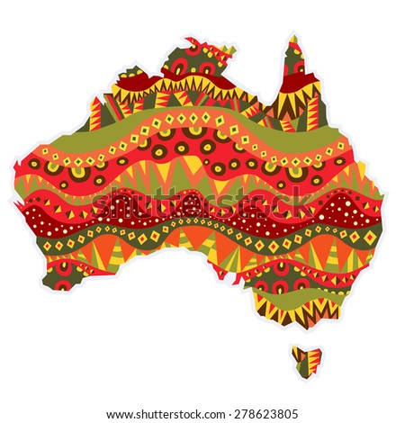 Patterned Australia Continent Map Element Bright Stock Vector ...