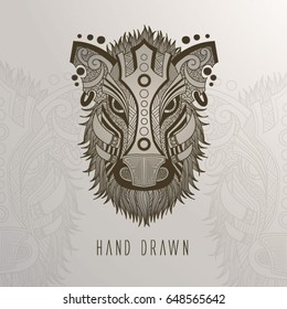 Patterned Boar head on background. Tattoo design. It may be used for design of a t-shirt, bag, postcard, a poster and so on.
