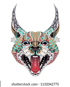 Patterned caracal lynx. Growling cat. Tattoo design. It may be used for design of a t-shirt, bag, postcard, a poster and so on.
