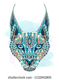 Patterned caracal lynx on the watercolor background. Tattoo design. It may be used for design of a t-shirt, bag, postcard, a poster and so on.