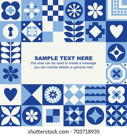 Patterned card in scandinavian style with place for text. Vector illustration.