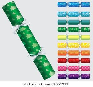 Patterned Christmas cracker set in vector format.