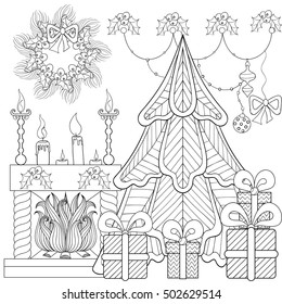 Patterned Christmas home interior with fireplace, Christmas tree, gifts for adult anti stress coloring page, book, art therapy, tattoo. Vector illustration, hand drawn sketch, holiday colour in.