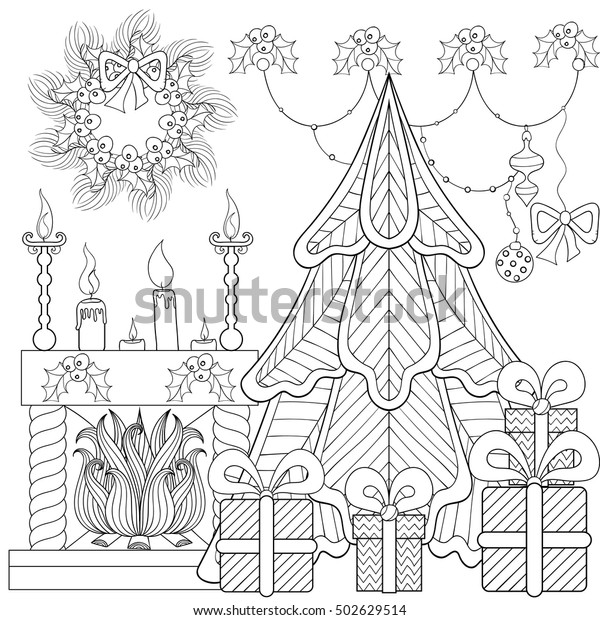Swell Patterned Christmas Home Interior Fireplace Christmas Stock Download Free Architecture Designs Rallybritishbridgeorg
