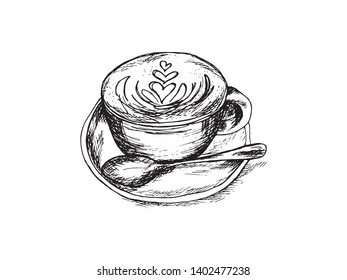 Patterned coffee black and white sketch illustration