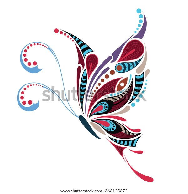 Patterned Colored Butterfly African Indian Totem 스톡 벡터(로열티