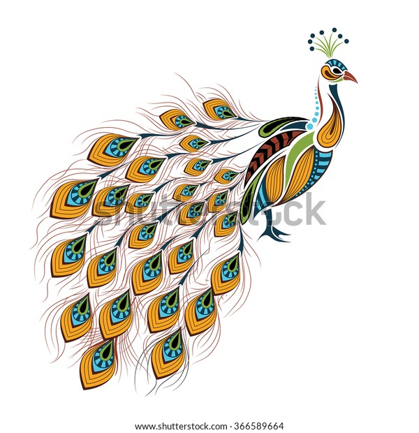 Patterned Colored Peacock African Indian Totem Stock Vector (Royalty Free) 366589664