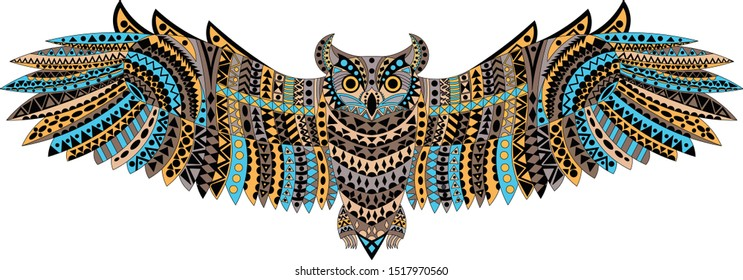 Patterned, colorful owl on a white background. African, totem, tattoo. It can be used to design a t-shirt, bag, postcard, poster etc.
