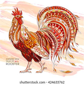 Patterned fiery rooster on the grunge background. Symbol of chinese new year / African / indian / totem / tattoo design. It may be used for design of a t-shirt, bag, postcard, a poster and so on.