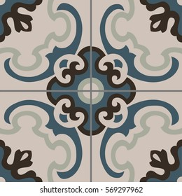 Patterned floor and wall tiles. Modern decor of the traditional encaustic technique. Ceramic decorative tiles. Vintage flower texture.
