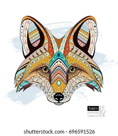 Patterned fox head. Ethnic animals vector illustration. African / indian / totem / tattoo design. Can be used as t-shirt and bag print, postcard, poster