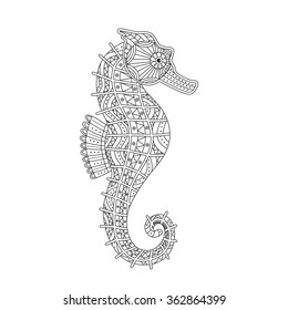 Patterned hand drawn seahorse in zentangle style. Vector illustration for coloring page, t-shirt design, logo, tattoo, poster and so on.