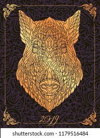 Patterned head of boar. Pig. Swine. Symbol of 2019. Calendar cover. It may be used for design of a t-shirt, bag, postcard, a poster and so on.