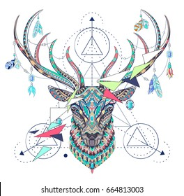 Patterned head of the deer  with geometry on the grunge background. African, indian, totem, tattoo design. It may be used for design of a t-shirt, bag, postcard, a poster and so on.