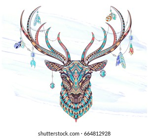 Patterned Head Deer On Grunge Background Stock Vector Royalty Free