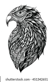 Patterned head of eagle  Black and white zentangle art. Ethnic patterned illustration for antistress coloring book, tattoo, poster, print, t-shirt.