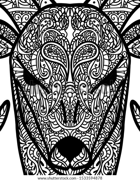 - Patterned Head Goat Tattoo Design Coloring Stock Vector (Royalty Free)  1533594878