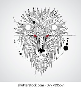 Patterned head of the lion on white background. African / indian / totem / tattoo design. It may be used for design of a t-shirt, bag, postcard, a poster and so on.