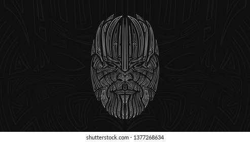 Patterned head of the super villain Thanos, vector illustration in line style. Sketch for adult antistress coloring page, tattoo, poster, print, t-shirt and so on.