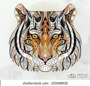 Patterned head of the tiger on the grunge background. African / indian / totem / tattoo design. It may be used for design of a t-shirt, bag, postcard, a poster and so on.