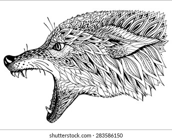 6ca2f13d3 Patterned head of the wolf. Tribal ethnic totem, tattoo design. Hand drawn  abstract