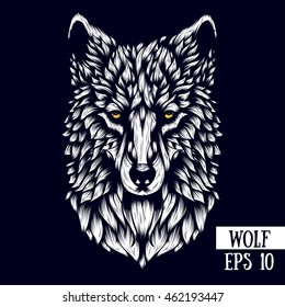 Patterned head of the wolf, vector illustration in line style. Sketch for adult antistress coloring page, tattoo, poster, print, t-shirt and so on.