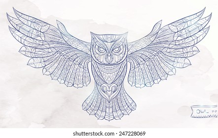Patterned owl on the watercolor background. African / indian / totem / tattoo design / line art. It may be used for design of a t-shirt, bag, postcard, a poster and so on.