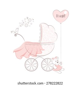 The patterned pram, singing bird, transparent pink veil, Teddy-bear in the dress with balloon. Vector background.