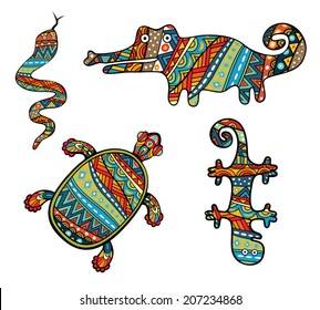 Patterned Reptiles. Silhouettes of turtle, snake, lizard and crocodile. Ornate animals with ethnic abstract pattern. Colorful tribal ornament in collection of various reptiles. Vector is grouped EPS8.