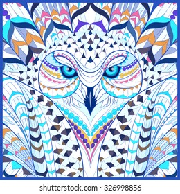Patterned snowy owl. Indian / totem / tattoo. It may be used for design of a t-shirt, bag, postcard, a poster and so on.