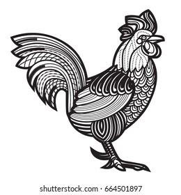 Patterned vector rooster - Symbol of chinese new year - African indian totem tattoo design for t-shirt bag postcard poster and so on.