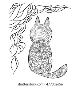 Coloriage Chat Maine Coon.Chat Coloriage Stock Illustrations Images Vectors