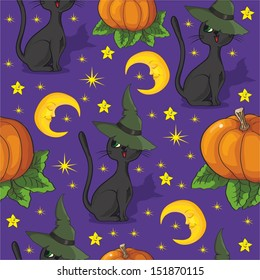 Patterns with Cat in the Hat for Halloween on a purple background