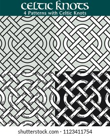 Patterns with Celtic Knots. 4 different versions of a seamless pattern with Celtic knots: with white filling, without filling, with shadows and with a black background.
