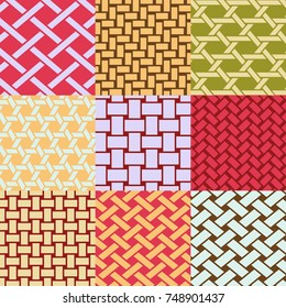 Patterns collection of different interweave of baskets