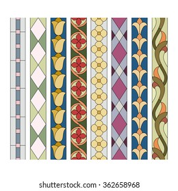 patterns of decorative elements for the stained glass borders
