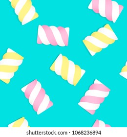 Patterns Marshmallows on pastel pink and light blue background