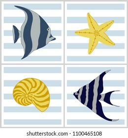 Patterns with sea cartoon creatures on blue and white striped background