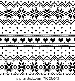 patterns with stylized winter Nordic ornament. Vector illustration.