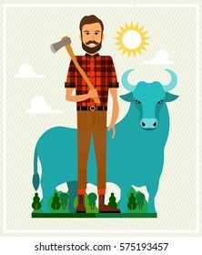 Paul Bunyan and Babe the Blue Ox. Vector Illustration.