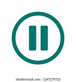 Pause button icon. Dark green Pause button symbol vector