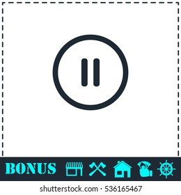 Pause button icon flat. Simple vector symbol and bonus icon