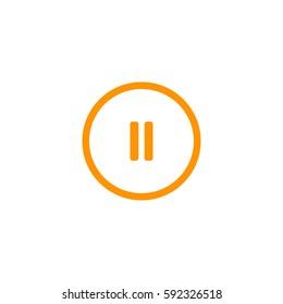 pause button icon. Orange icon