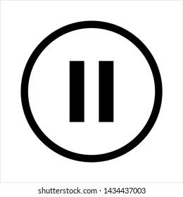 Pause Button Icon Vector Art Illustration