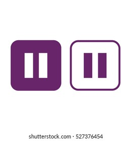 Pause button vector icon. Purple and white