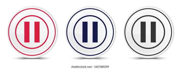 Pause icon crystal flat round button set illustration design isolated on white background