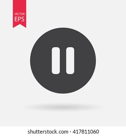 Pause icon vector, Player navigation button. Audio setting concept. Symbols, Sign isolated on white background. Flat design