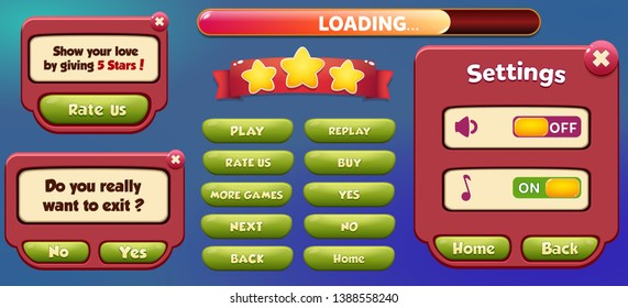 Pause menu scene pop up with sound music and buttons Game ui complete menu of graphical user interface GUI to build 2D games Casual Game