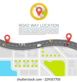 Paved path on the road. banner road. Vector background